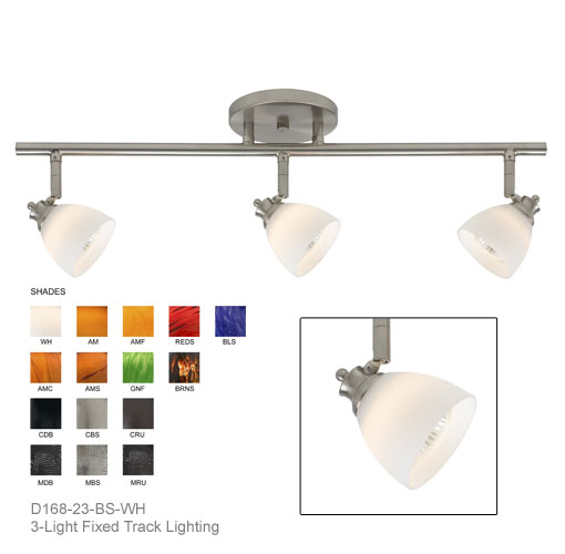 d168 23 bs wh shown with brushed steel finished w white shades ceiling mount track lighting