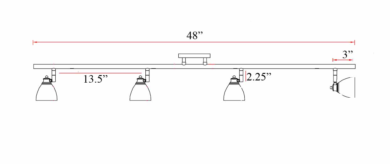 4-Light Bar Track Lighting Kit D168-44-MBS - D168-44-MBS-BS
