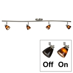 4-Light Bar Track Lighting Kit D268-44C-BS-BRNS Light Bar Track Lighting Kit, Fixed Track Lighting Kit, Bar Track Lighting, Spotlight Bar, Fixed Mount, Straight Bar, Light Fixture, Multi-directional Lamp Heads,Track Light Kit,4 Light Track Lighting Kit, Multi Directional Ceiling Fixture,Bar light,Ceiling Mount Track lighting Kit Wave Bar, Serpentine Light,D268-44C-BS-BRNS
