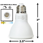 8W LED PAR20 Light Bulb 3000K Warm White - White Finish PAR20 LED Bulb, LED Bulbs, Light Bulbs, PAR20, PAR, LED,  Warm White, 3000K, LB-3000-WH-3K