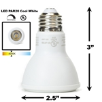 8W LED PAR20 Light Bulb 4000K Cool White - White Finish PAR20 LED Bulb, LED Bulbs, Light Bulbs, PAR20, PAR, LED,  Cool White, 4000K, LB-3000-WH-4K