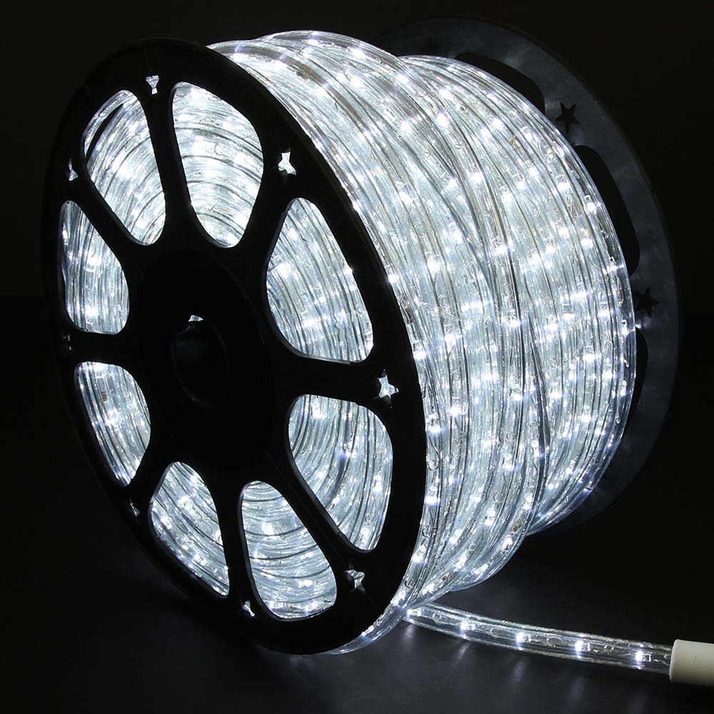 Cool white led rope lights 148ft rlwl 148 ww direct lighting cool white rope lights led 148 in dark room mozeypictures Choice Image