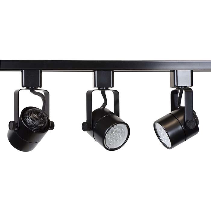 Led Track Lighting Bulbs: LED Track Lighting Kit Black Finish GU10 7.5W 2700K LED