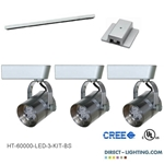 LED Track Lighting kit Brushed Steel
