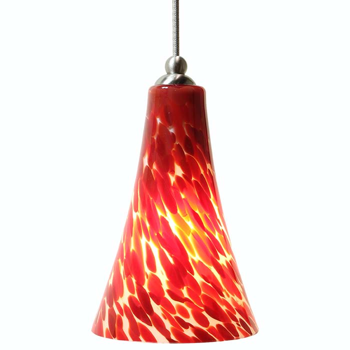 DPN-24-6-REDP Red Colored Bell Shaped Glass Pendant Light