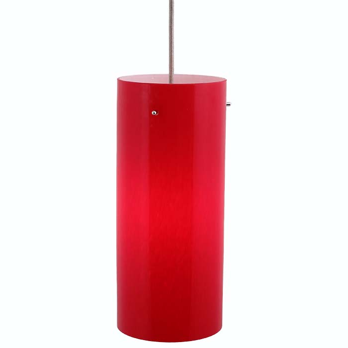 DPN-31-6-RED Red Colored Cyliner Shaped Glass Pendant Light