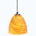 DPN-32-6-AMSP Amber Colored Dome Shaped Glass Pendant Light