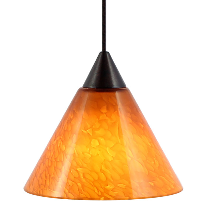 DPNL-25-6-AM Amber Colored Cone Shaped Glass Pendant Light