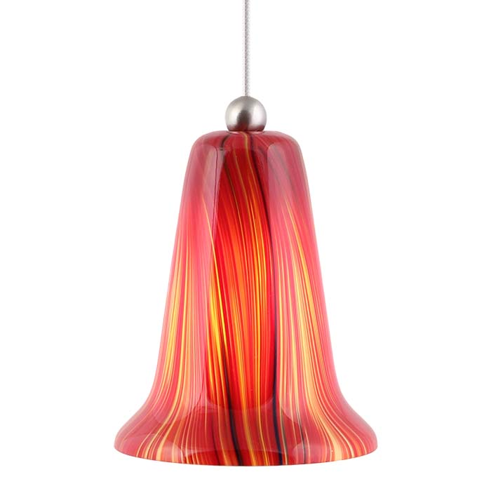 DPNL-29-6-REDF Red Colored Bell Shaped Glass Pendant Light