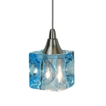 DPNL-35-6-BLUE Cube Shaped Glass Pendant Light