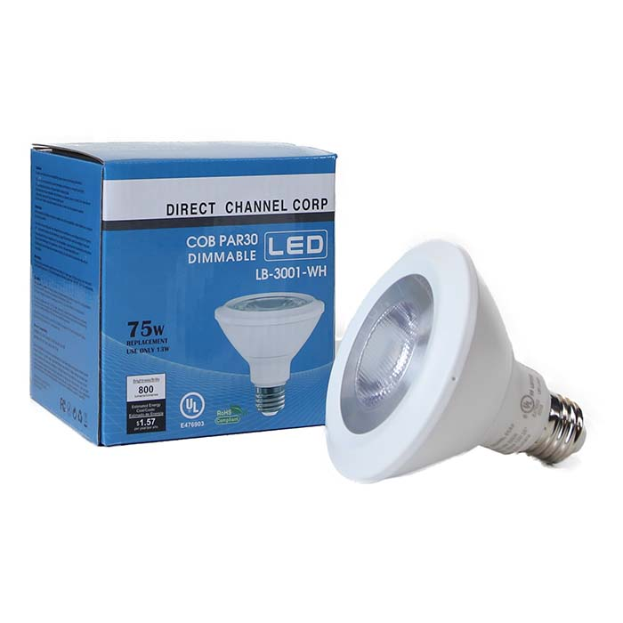 PAR30 LED Light Bulb 13W 3000K Warm White - White Finish  - LB-3001-WH-3K