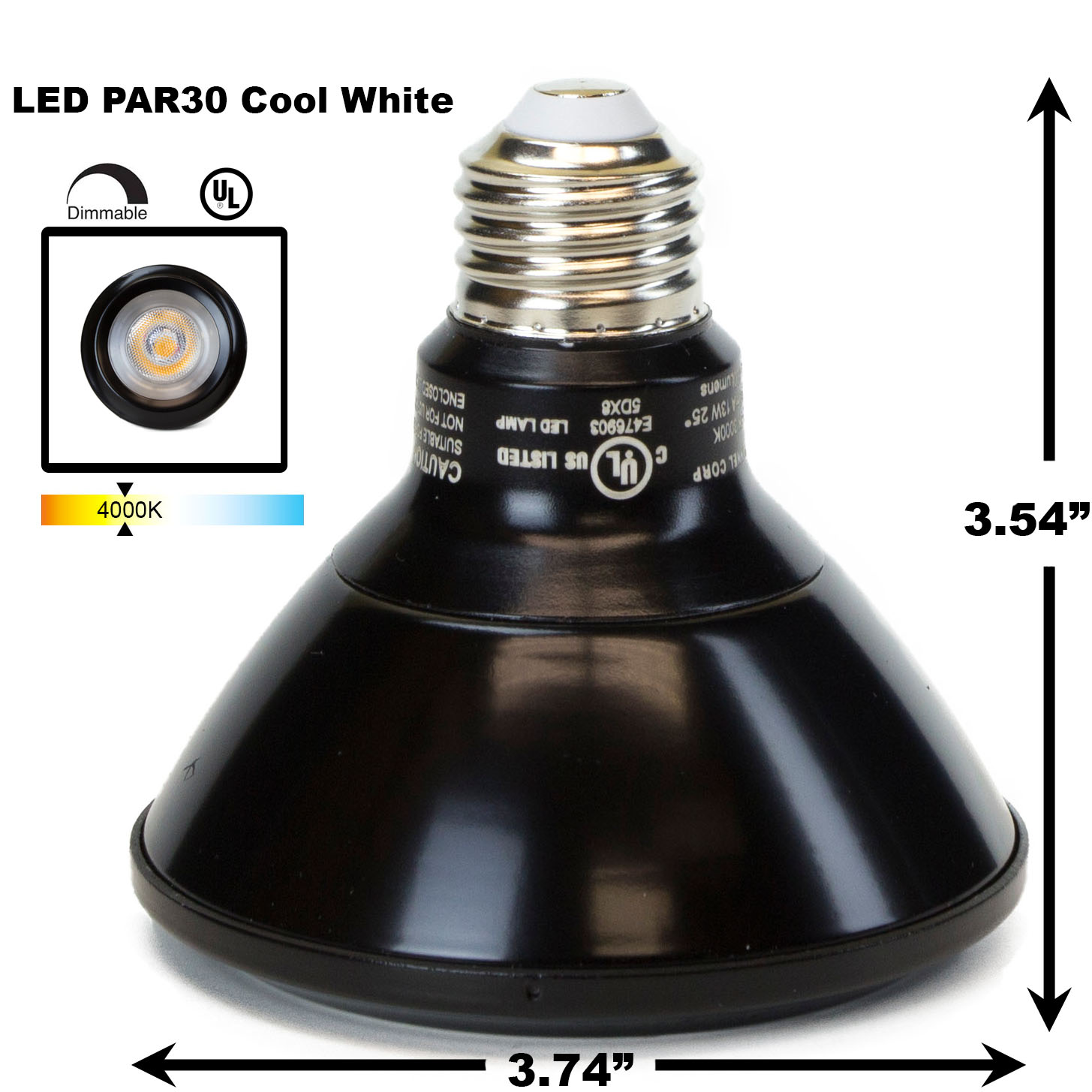 PAR30 LED Light Bulb 13W 4000K Cool White - Black Finish PAR30 LED Bulb, LED Bulbs, Light Bulbs, PAR30, PAR, LED,  Cool White, 4000K, LB-3001-BK-4K