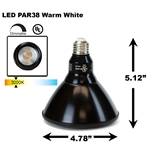 PAR38 LED Light Bulb 18W 3000K Warm White - Black Finish  PAR38 LED Bulb, LED Bulbs, Light Bulbs, PAR38, PAR, LED,  Warm White, 3000K, LB-3002-BK-3K