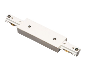 Track Lighting Straight Connector with Power Entry White