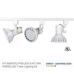 LED Track Lighting Kit PAR38 HT-50047FC-P38-LED-3-KIT-WH Track Lighting Kits, Track Lighting Systems, LED Track Lighting Kits, LED Track Lights, LED Track, LED Track Light, LED Luminaries, LED Spot Light, LED Track Head, Directional Track Lighting,  HT-50047, LED PAR38, Kits, Universal Track Head, Spot Light, HT-50047FC-P38-LED-3-KIT-WH