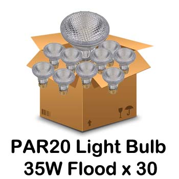 Light Bulb Halogen PAR20 35W FL (30-Pack) Halogen Light Bulbs, PAR Lamps, PAR20, PAR 20, FL, Flood, Pack
