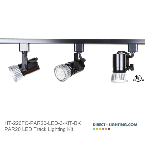 LED Track Lighting Kit PAR20 HT-226FC-P20-LED-3-KIT-BK Track Lighting Kits, Track Lighting Systems, LED Track Lighting Kits, LED Track Lights, LED Track, LED Track Light, LED Luminaries, LED Spot Light, LED Track Head, Directional Track Lighting,  HT-226, LED PAR20, Kits, Universal Spot Light, HT-226FC-P20-LED-3-KIT-BK