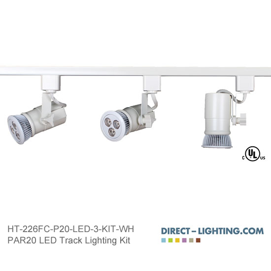 LED Track Lighting Kit PAR20 HT-226FC-P20-LED-3-KIT-WH Track Lighting Kits, Track Lighting Systems, LED Track Lighting Kits, LED Track Lights, LED Track, LED Track Light, LED Luminaries, LED Spot Light, LED Track Head, Directional Track Lighting,  HT-226, LED PAR20, Kits, Universal Spot Light, HT-226FC-P20-LED-3-KIT-WH