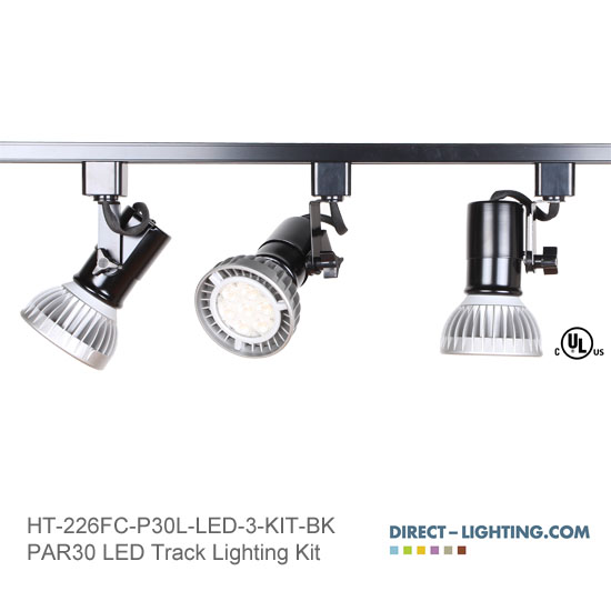 LED Track Lighting Kit PAR30LN HT-226FC-P30L-LED-3-KIT-BK Track Lighting Kits, Track Lighting Systems, LED Track Lighting Kits, LED Track Lights, LED Track, LED Track Light, LED Luminaries, LED Spot Light, LED Track Head, Directional Track Lighting,  HT-226, LED PAR30, Kits, Universal Track Head, Spot Light, HT-226FC-P30L-LED-3-KIT-BK