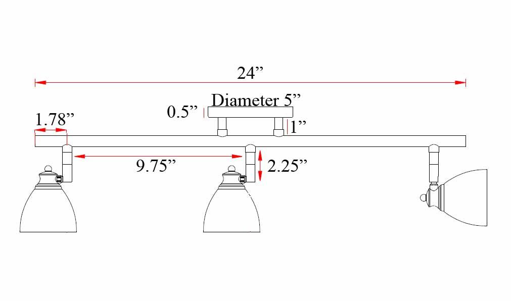 3 Light Fixed Track Lighting Kit D168 23 WH