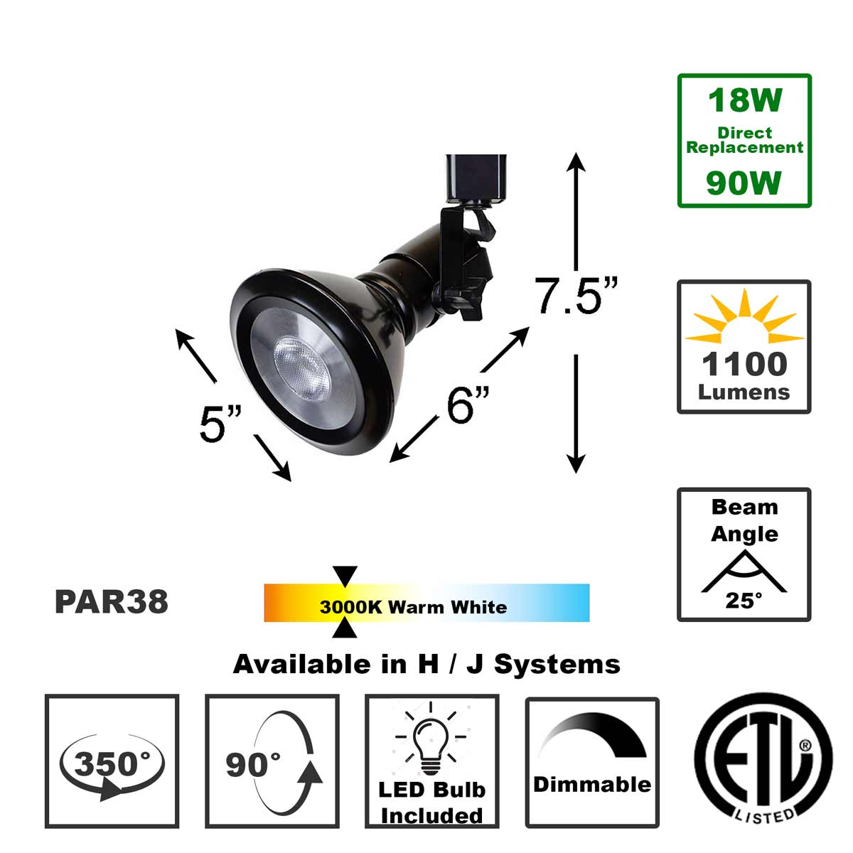 Shop 50047-L38-3K-BK LED LED Track Lighting Fixture