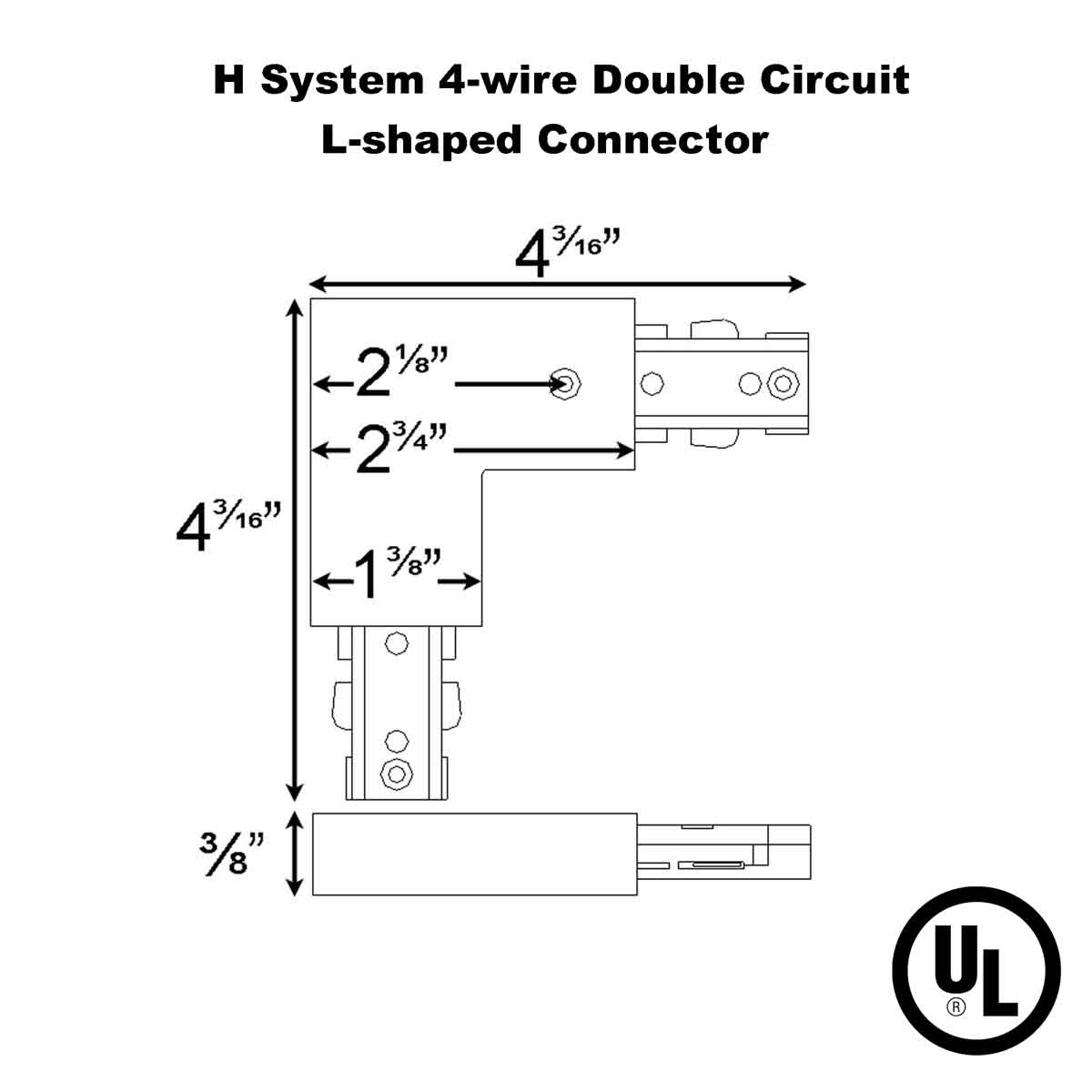 L connector with Power Entry For Double Circuit Straight Track