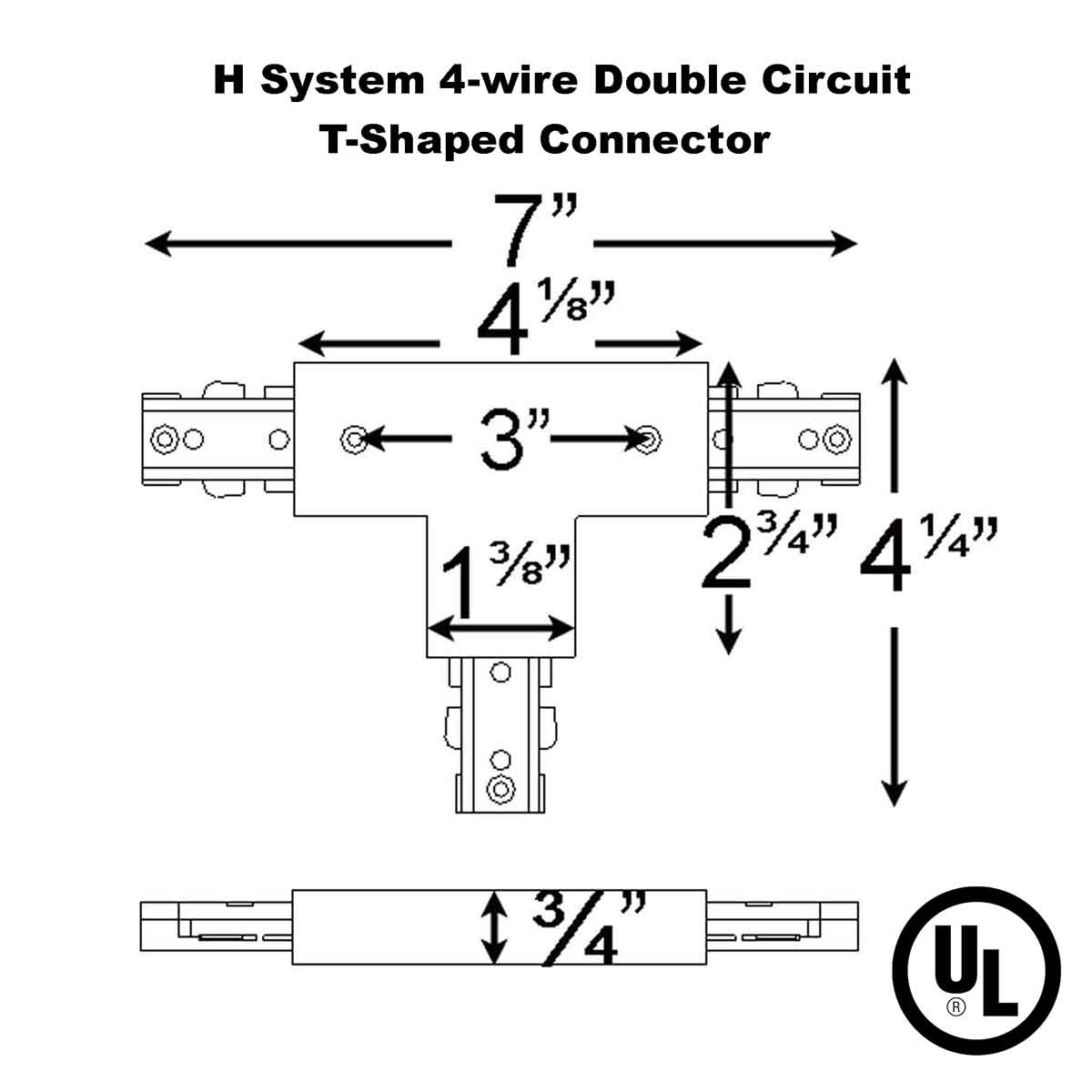 T connector with power entry for double circuit straight track