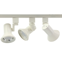 GU10 Flared Stepped LED Track Lighting Kit White 4080-3KIT-27K-WH