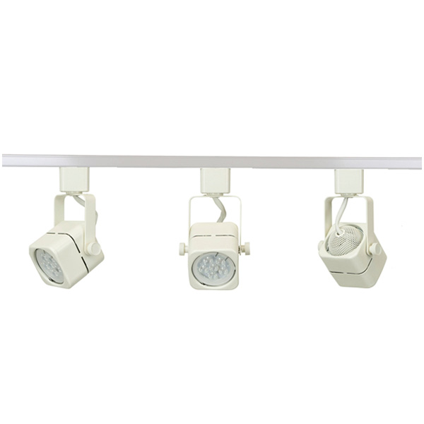 ... LED Track Lighting Fixture 50155LED-WH-3K ...  sc 1 st  Direct-Lighting.com & LED Track Lighting Kit White Finish GU10 7.5W 2700K LED Bulb 50155 ...