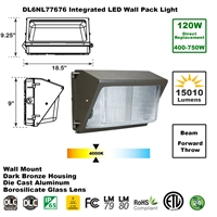 Integrated 120W LED Wall Pack Light Outdoor Industrial-Grade Dark Bronze  LED Wall Pack, LED Wall Packs, Wall Pack, Wall Packs, Wallpacks, Security Lights, LED, 120 Watt, Direct-Lighting, 7767, DL6NL77676
