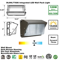 Integrated 120W LED Wall Pack Light Outdoor Industrial-Grade Dark Bronze   LED Wall Pack, LED Wall Packs, Wall Pack, Wall Packs, Wallpacks, Security Lights, LED, 120 Watt, Direct-Lighting, 7768, DL6NL77686