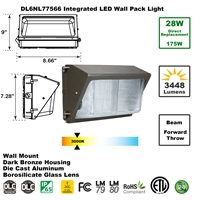 Integrated 28W LED Wall Pack Light Outdoor Industrial-Grade Dark Bronze   LED Wall Pack, LED Wall Packs, Wall Pack, Wall Packs, Wallpacks, Security Lights, LED, 28 Watt, Direct-Lighting, 7756, DL6NL77566
