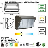 Integrated 28W LED Wall Pack Light Outdoor Industrial-Grade Dark Bronze LED Wall Pack, LED Wall Packs, Wall Pack, Wall Packs, Wallpacks, Security Lights, LED, 28 Watt, Direct-Lighting, 7466, DL6NL74666