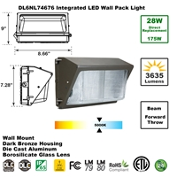 Integrated 28W LED Wall Pack Light Outdoor Industrial-Grade Dark Bronze  LED Wall Pack, LED Wall Packs, Wall Pack, Wall Packs, Wallpacks, Security Lights, LED, 28 Watt, Direct-Lighting, 7467, DL6NL74676