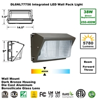 Integrated 38W LED Wall Pack Light Outdoor Industrial-Grade Dark Bronze LED Wall Pack, LED Wall Packs, Wall Pack, Wall Packs, Wallpacks, Security Lights, LED, 38 Watt, Direct-Lighting, 7775, DL6NL77756