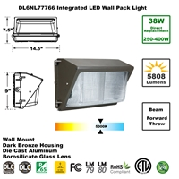 Integrated 38W LED Wall Pack Light Outdoor Industrial-Grade Dark Bronze  LED Wall Pack, LED Wall Packs, Wall Pack, Wall Packs, Wallpacks, Security Lights, LED, 38 Watt, Direct-Lighting, 7776, DL6NL77766