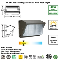 Integrated 42W LED Wall Pack Light Outdoor Industrial-Grade Dark Bronze LED Wall Pack, LED Wall Packs, Wall Pack, Wall Packs, Wallpacks, Security Lights, LED, 42 Watt, Direct-Lighting, 7757, DL6NL77576