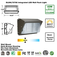 Integrated 42W LED Wall Pack Light Outdoor Industrial-Grade Dark Bronze LED Wall Pack, LED Wall Packs, Wall Pack, Wall Packs, Wallpacks, Security Lights, LED, 42 Watt, Direct-Lighting, 7076, DL6NL70766