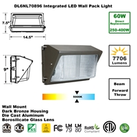 Integrated 60W LED Wall Pack Light DLC Rated Dark Bronze  LED Wall Pack, LED Wall Pack Flood Lights, Exterior LED Wall Pack, LED Outdoor, Wallpacks, Security Lights, Commercial, 277, 120, 60 Watt, 70 Watt, 250Watt, 400Watt, HID, Metal Halide Replacement, Direct-Lighting, 7089, DL6NL70896