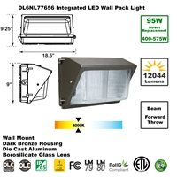 Integrated 95W LED Wall Pack Light Outdoor Industrial-Grade Dark Bronze LED Wall Pack, LED Wall Packs, Wall Pack, Wall Packs, Wallpacks, Security Lights, LED, 95 Watt, Direct-Lighting, 7765, DL6NL77656