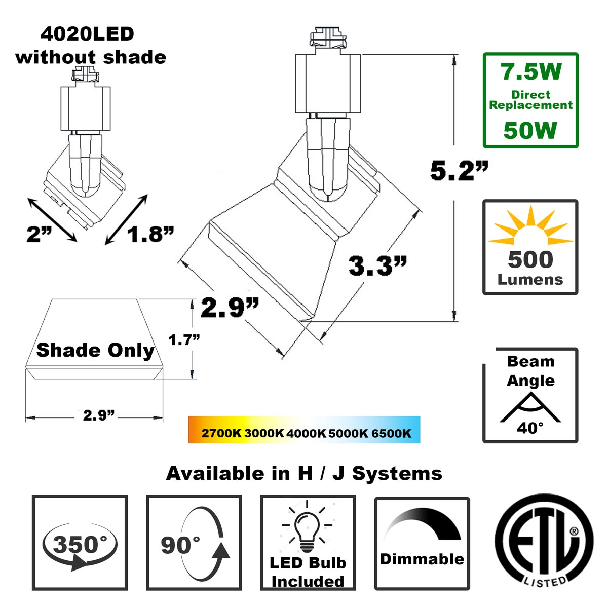 Shop LED Track Lighting H or J Typed ETL Listed 4020