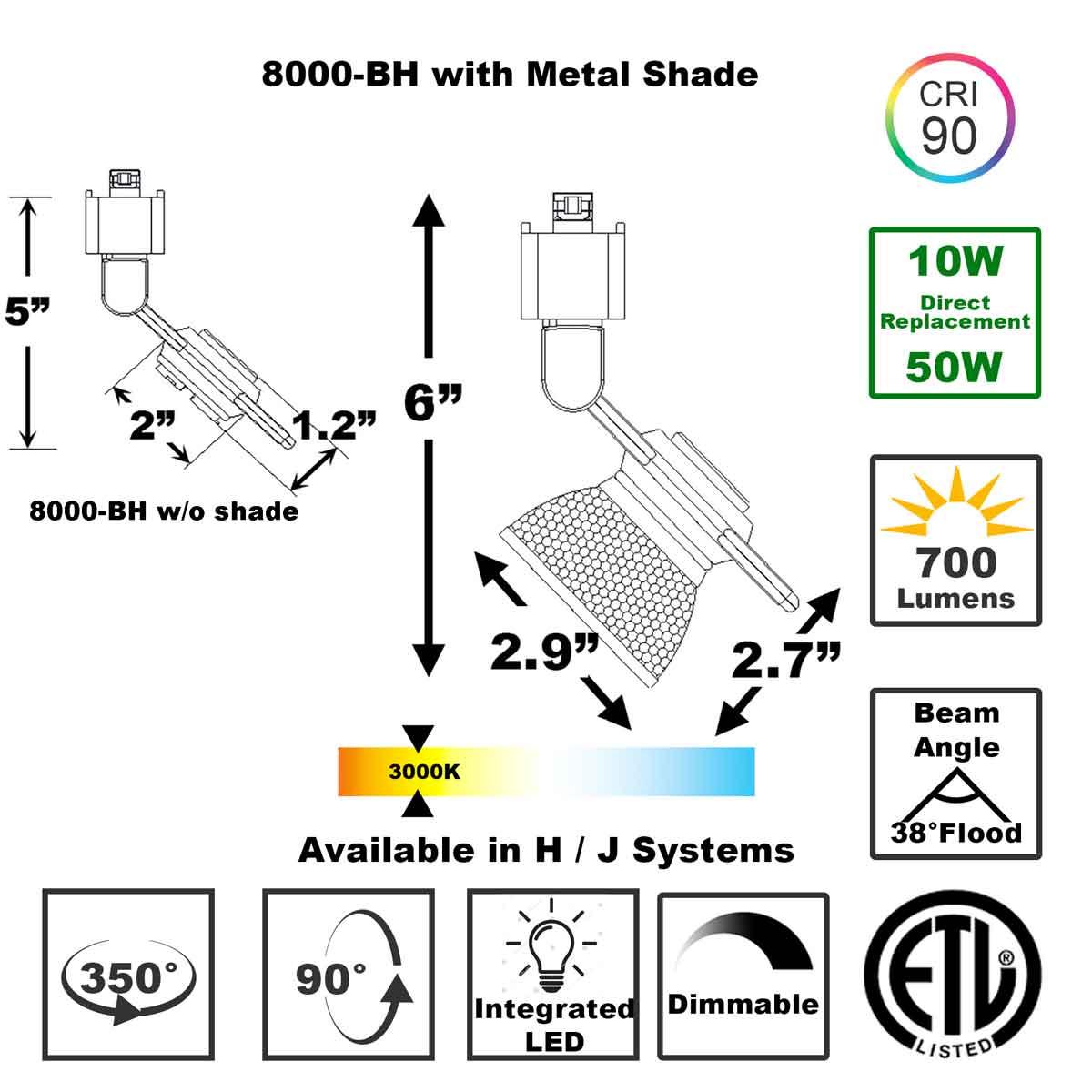 Shop LED Track Lighting H or J Typed ETL Listed 8000-BH-BS