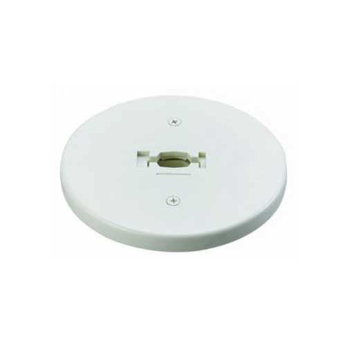 H System Single Circuit Line Voltage Round Monopoint Plate Adapter 50107 White