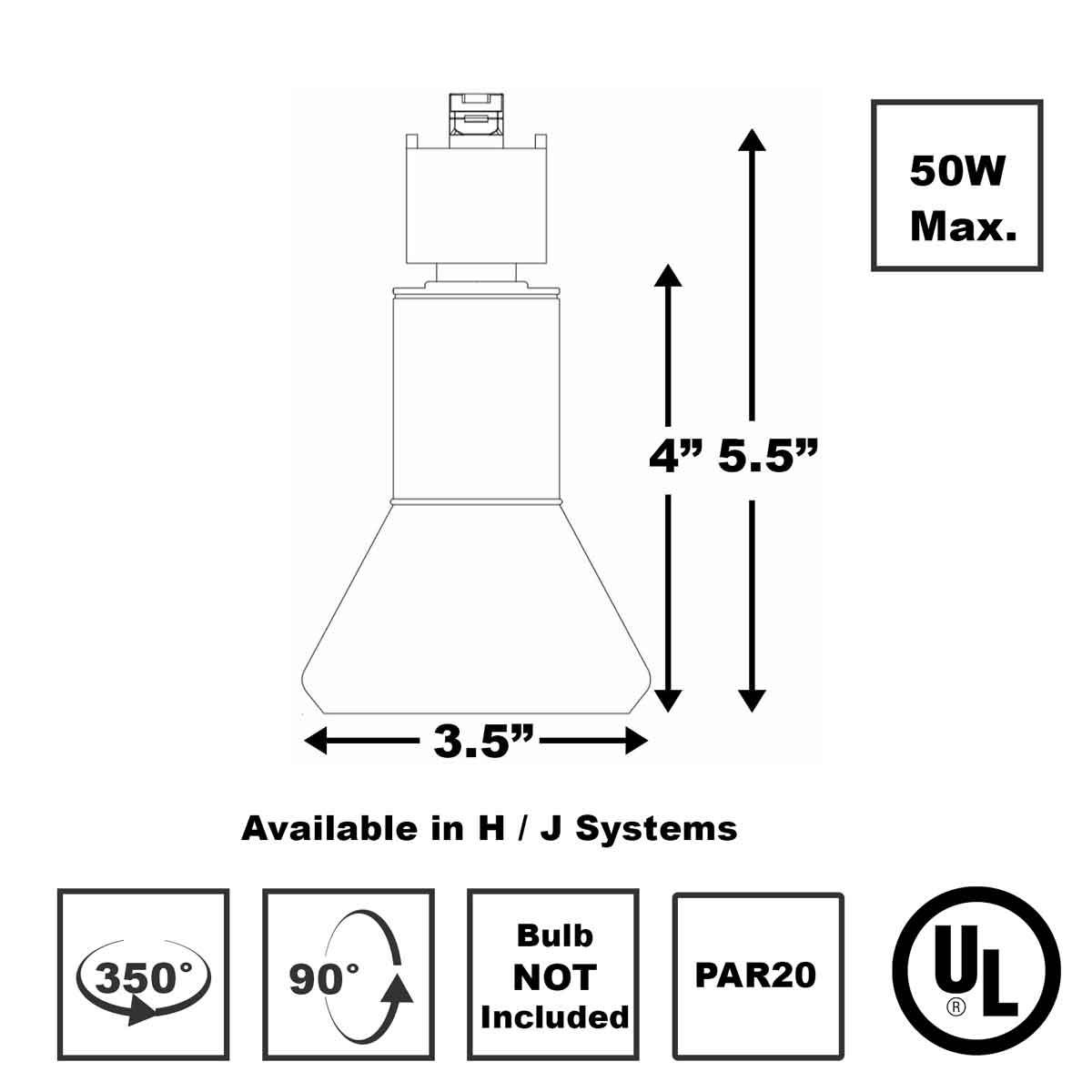 Shop Line Voltage Track Lighting 50W PAR20 50002-50136