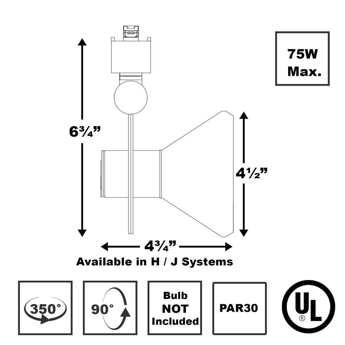 Line Voltage Track Lighting 75W PAR30 50002-50137 Direct