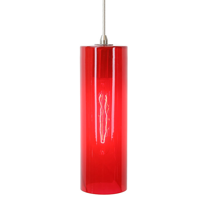 DPN-26-6-RED Red Cylinder Shaped Pendant Lighting