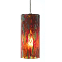 DPN-34-6-REDSP Red Colored Cylinder Shaped Glass Pendant Light