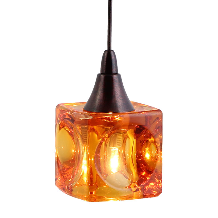 Dpnl 35 6 amber cube shaped glass pendant light · mini pendant lighting
