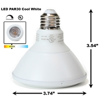 PAR30 LED Light Bulb 13W 4000K Cool White - White Finish  PAR30 LED Bulb, LED Bulbs, Light Bulbs, PAR30, PAR, LED,  Cool White, 4000K, LB-3001-WH-4K