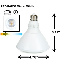 PAR38 LED Light Bulb 18W 3000K Warm White - White Finish   PAR38 LED Bulb, LED Bulbs, Light Bulbs, PAR38, PAR, LED,  Warm White, 3000K, LB-3002-WH-3K